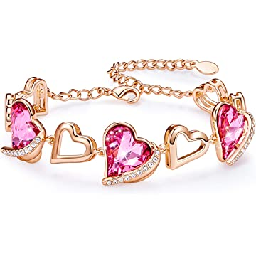 CDE Luxury Sparkling Tennis Bracelets for Women Embellised with Crystals from Swarovski Rose Gold Bracelet Gifts for Her