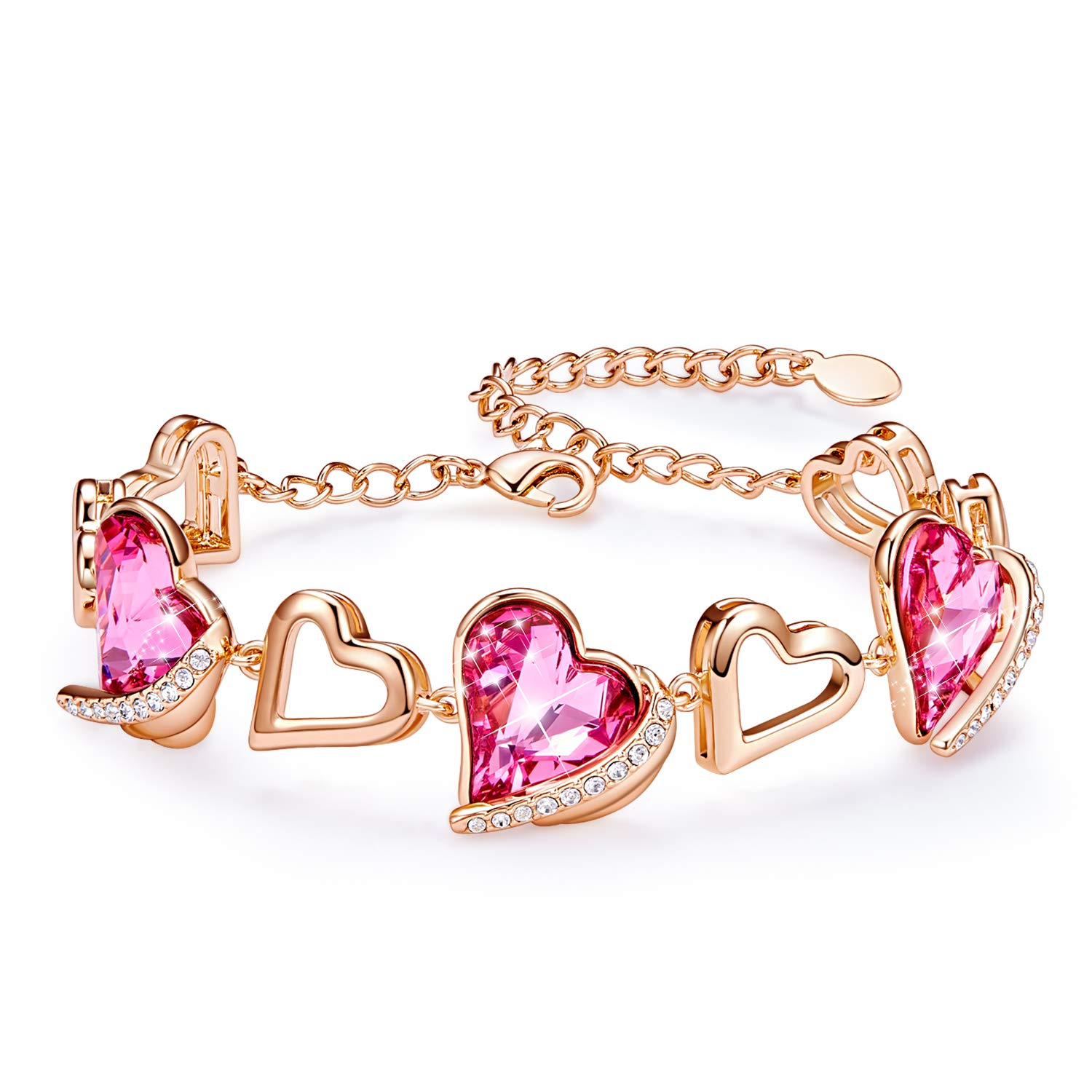CDE Women Bracelets, Love Heart Bracelets Rose Gold Plated Tennis Bracelet Embellished with Crystals from Swarovski by CDE