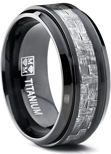 9MM Black Titanium Mens Wedding Band Ring with Wide Gray Carbon