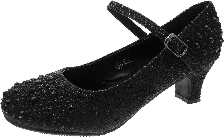 Lora Dora - Zapatos tipo merceditas de fiesta de tacón bajo con purpurina, para niñas