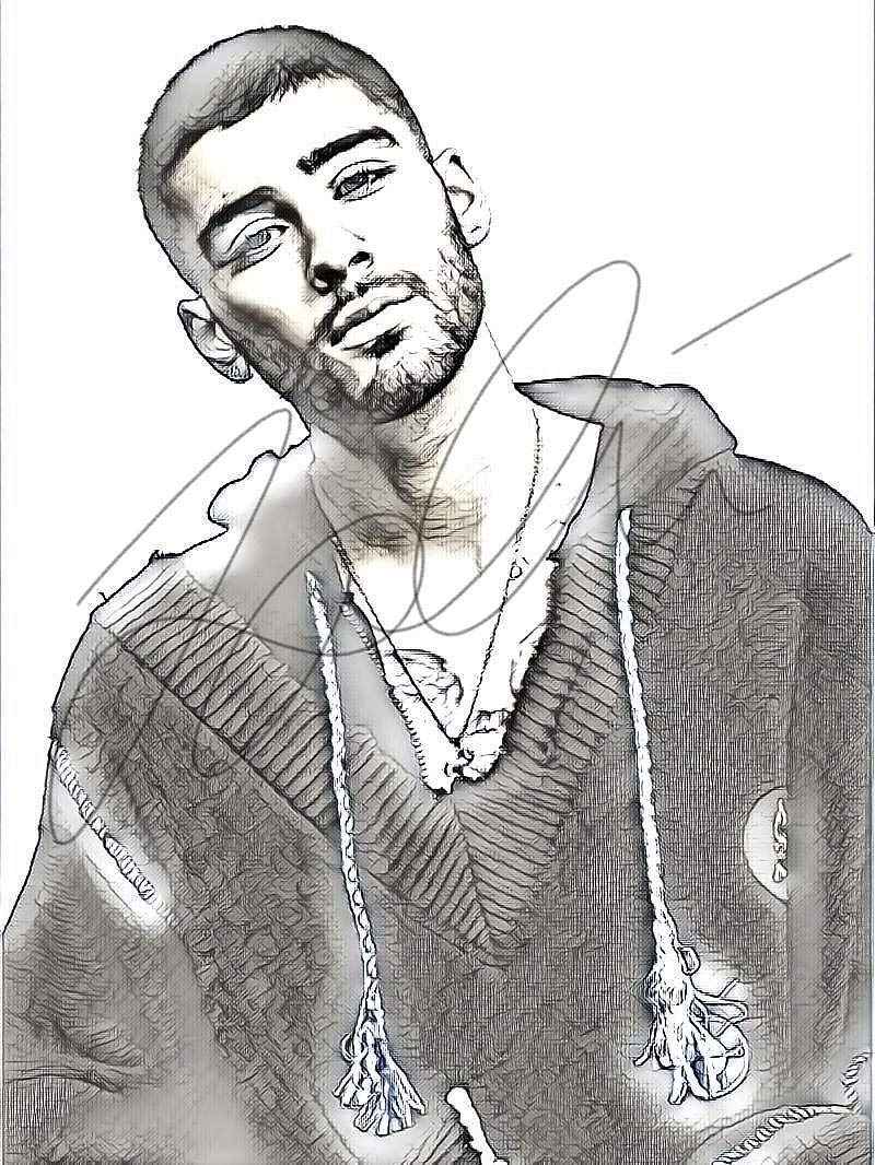 Amazon com zayn malik sketch drawing print poster hand drawn pencil singer zayn sketch4 handmade