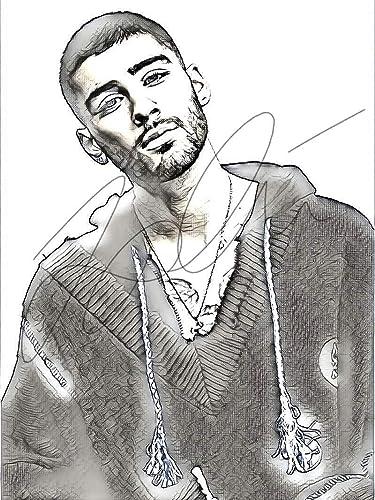 Amazoncom Zayn Malik Sketch Drawing Print Poster Hand Drawn Pencil