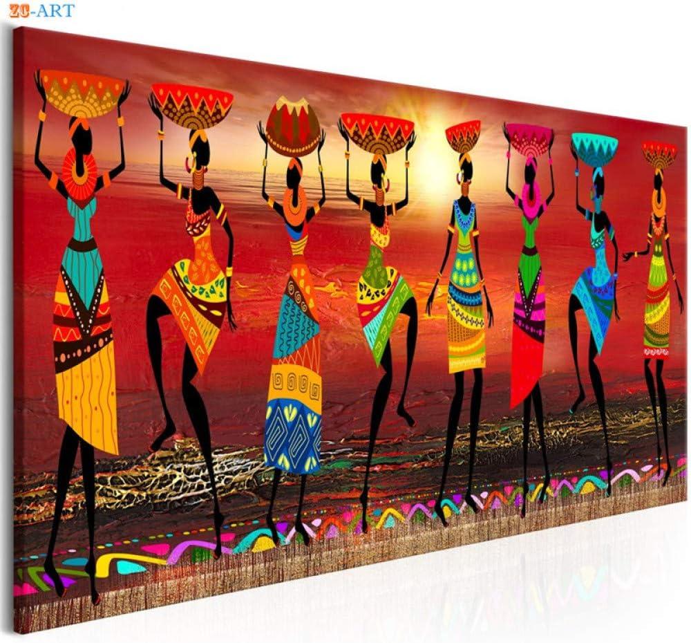 Tanyang 3 Pannelli Donna Africana Tela Stampa Artistica trittico Pittura Poster Immagini a Parete per Soggiorno Decorazione complementi arredo casa Senza Cornice