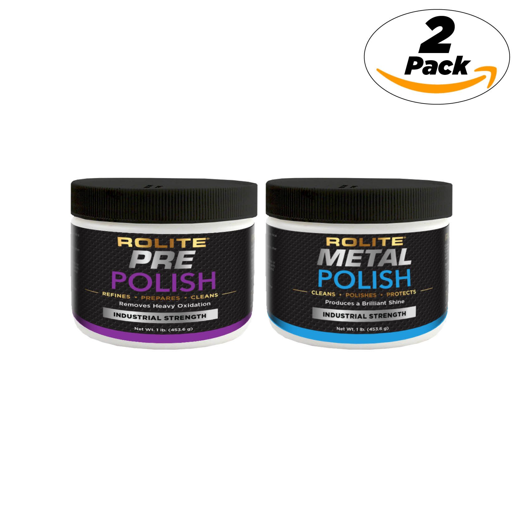 Rolite Pre Polish & Metal Polish (1lb) for The Ultimate Restorative Shine on All Metal Surfaces Combo Pack by Rolite (Image #1)