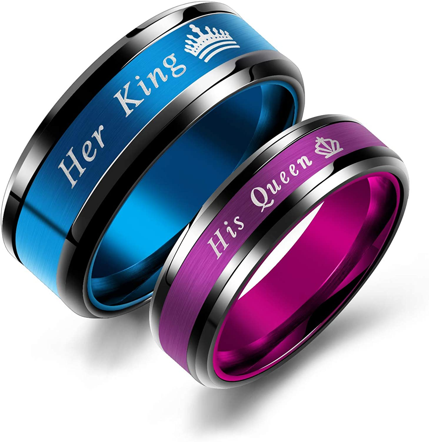 Iflytree 2pcs His and Her Wedding Engagement Band His Hers King and Queen Couples Rings Stainless Steel Matching Ring Sets for Him and Her