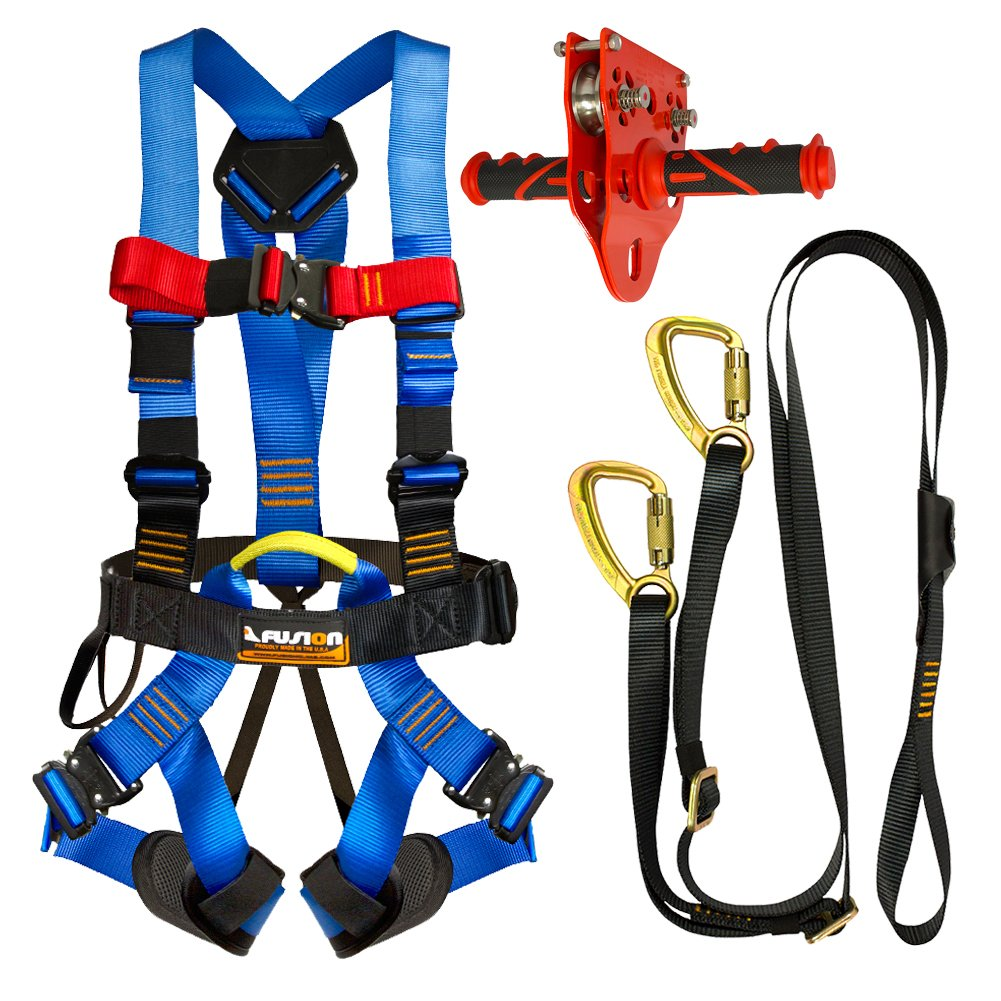 Fusion Climb Pro Backyard Zip Line Kit Harness Lanyard Trolley Bundle FK-A-HLT-35