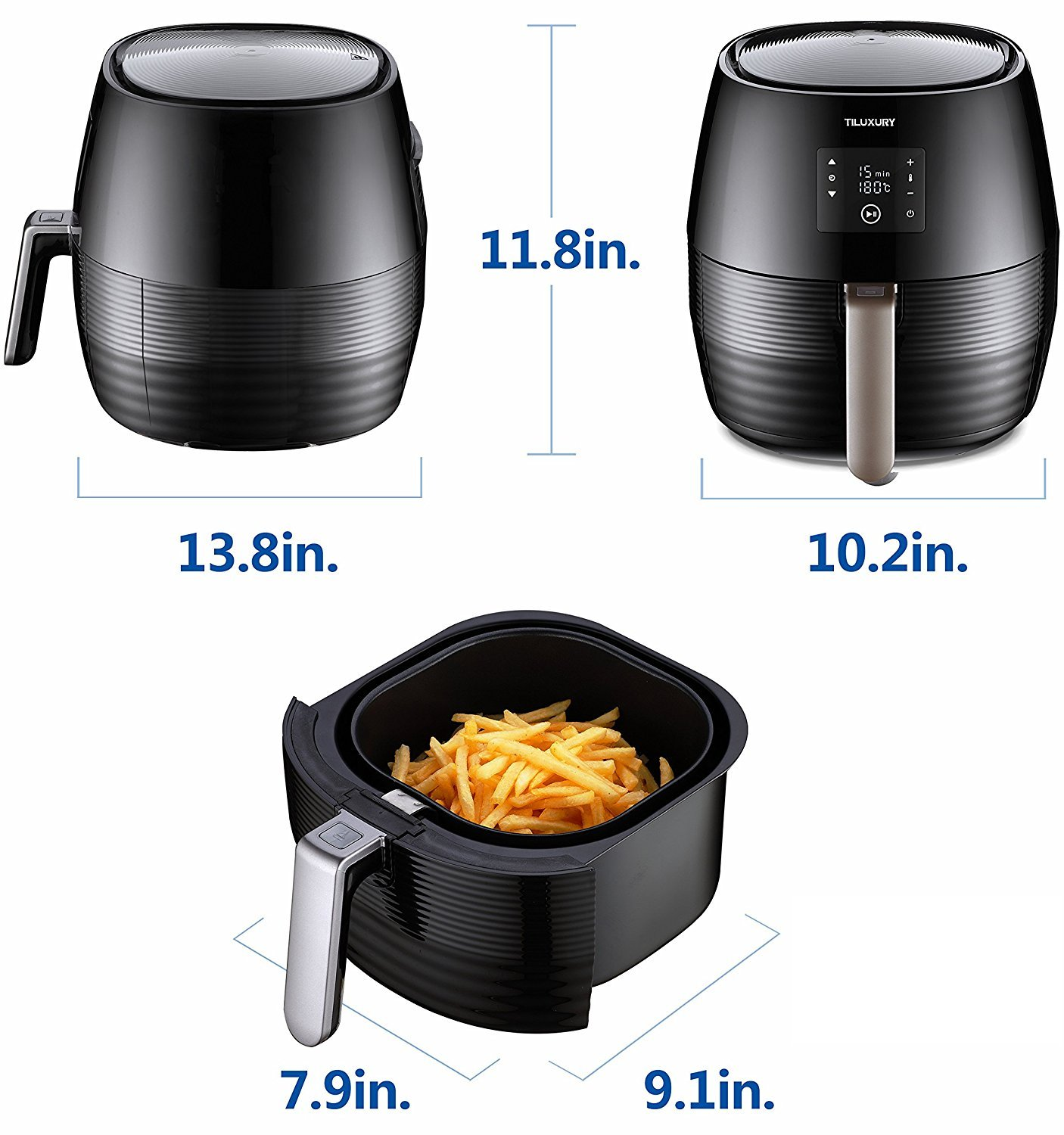 Tiluxury Air Fryer,Electric Air Fryers, Healthy Food Less Fat,Air French Fries,Hot Air Frying Technology Cooker,Digital Touch Screen and Non-Stick Basket,1400W 3.7QT (Black) by Tiluxury (Image #3)