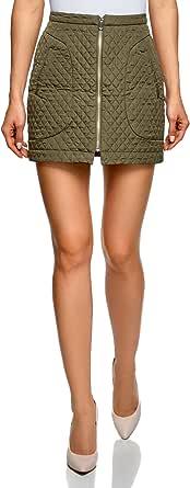 oodji Ultra Mujer Falda de Tejido Texturizado con Cremallera por Delante
