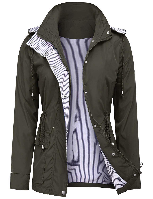 UUANG Raincoats Waterproof Rain Jacket Active Outdoor Detachable Hooded Women's Trench Coats