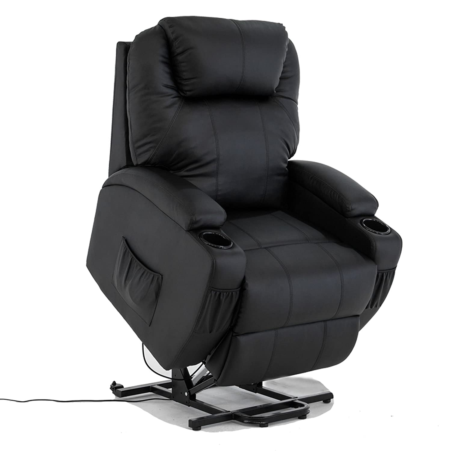 amazoncom power lift real leather recliner chair wall hugger lounge seat black kitchen u0026 dining