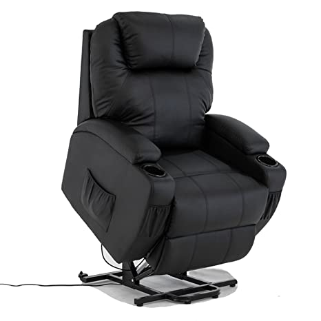 Groovy Mecor Electric Recliner Armchair In Leather Lift And Tilt Rise Mobility Chair With Cup Holder For Living Room Black Creativecarmelina Interior Chair Design Creativecarmelinacom