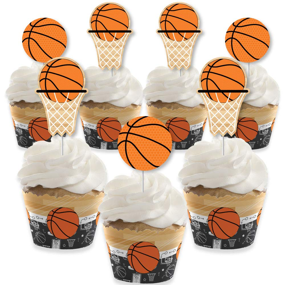 Big Dot of Happiness Nothin' but Net - Basketball - Cupcake Decoration - Baby Shower or Birthday Party Cupcake Wrappers and Treat Picks Kit - Set of 24 by Big Dot of Happiness