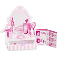 Melissa & Doug Wooden Beauty Salon Play Set with Vanity and Accessories (18 Pcs) Role Toy