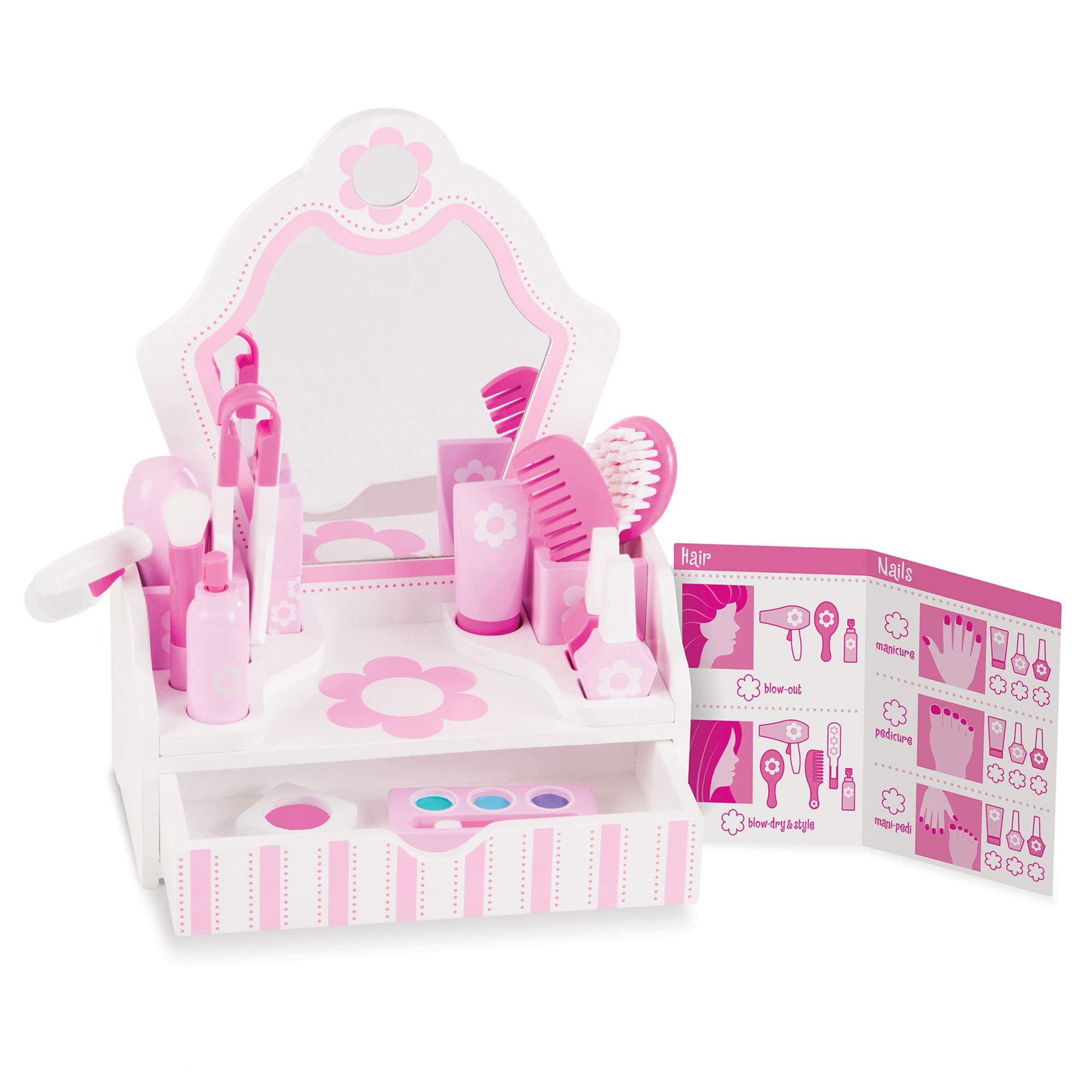 Melissa & Doug Wooden Beauty Salon Play Set (Role Play, Vanity & Accessories, 18 Pieces, 15.5'' H x 12'' W x 6'' L, Great Gift for Girls and Boys - Best for 3, 4, 5 Year Olds and Up) by Melissa & Doug