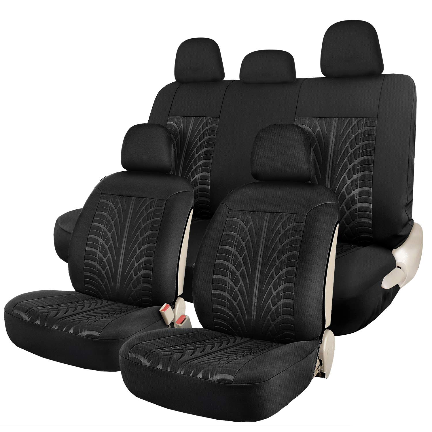 Leader Accessories Embossed Black Car Seat Covers Full Set - 2 Sideless Front Seat Cover, 5 Headrest Cover, 2 Rear Bench Seat Protector by Leader Accessories