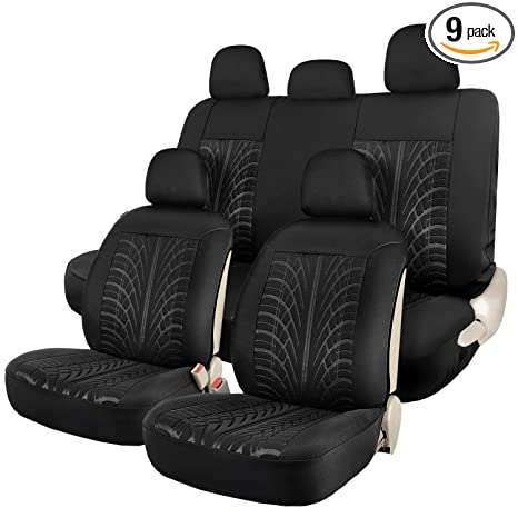 Groovy Leader Accessories Embossed Black Car Seat Covers Full Set 2 Sideless Front Seat Cover 5 Headrest Cover 2 Rear Bench Seat Protector Caraccident5 Cool Chair Designs And Ideas Caraccident5Info