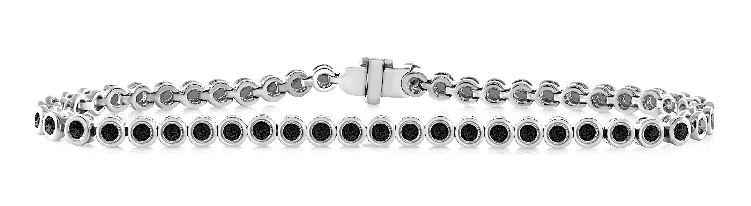 14K White Gold 2.00 Carat (ctw) Natural Real Round Cut Black Diamond Tennis Bracelet For Women 7 Inches