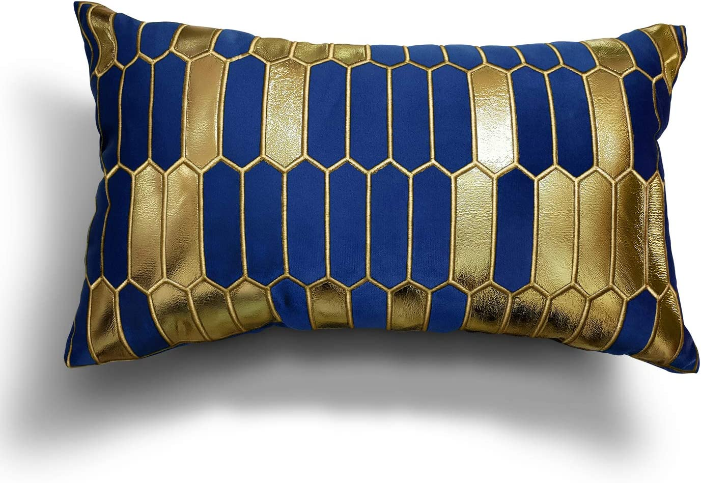 MENGT Blue and Gold Throw Pillow Cover 12x20 Inches Soft Velvet Material, Embroidery Decorative Pillow Case, Modern Design Luxury European Cushion Case for Couch Living Room Bedroom