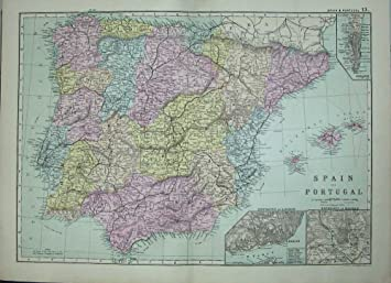 Bacon world atlas 1891 map spain portugal madrid lisbon amazon bacon world atlas 1891 map spain portugal madrid lisbon gumiabroncs Gallery