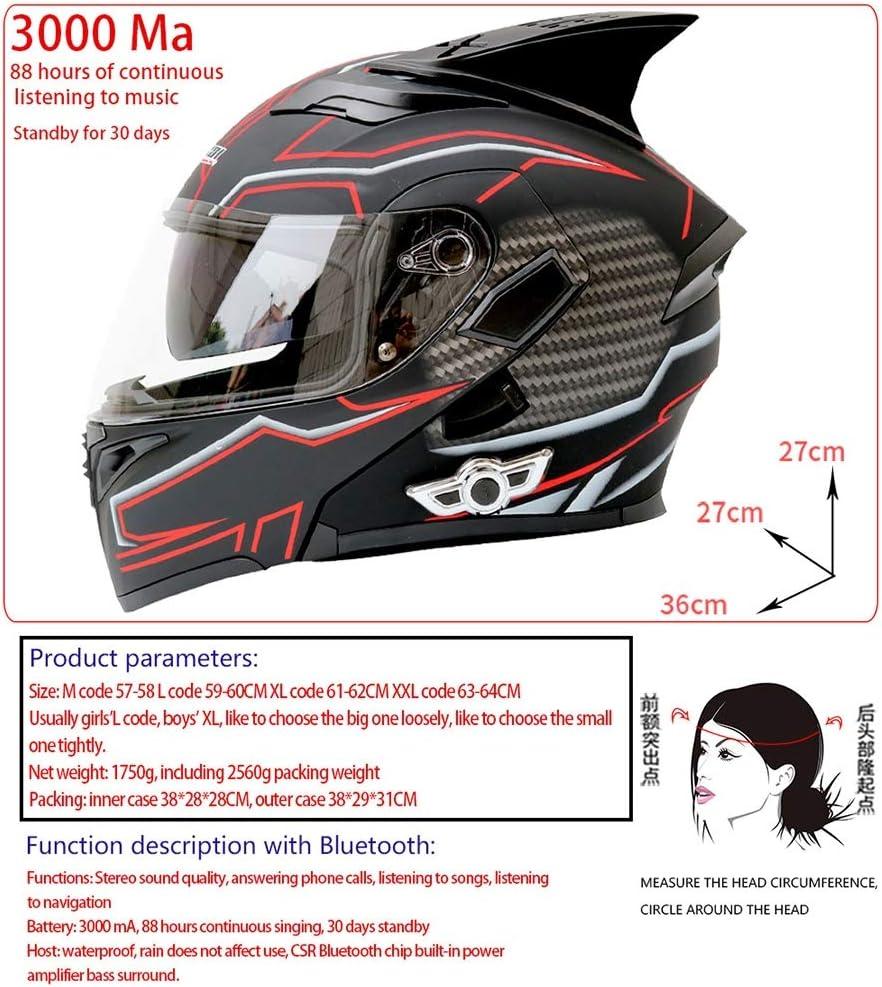 Bluetooth Motorbike Flip Up Helmet Front Built-In Dual Speaker Cool Motorcycle Anti-Fog Double Lens Helmet with Double Visor