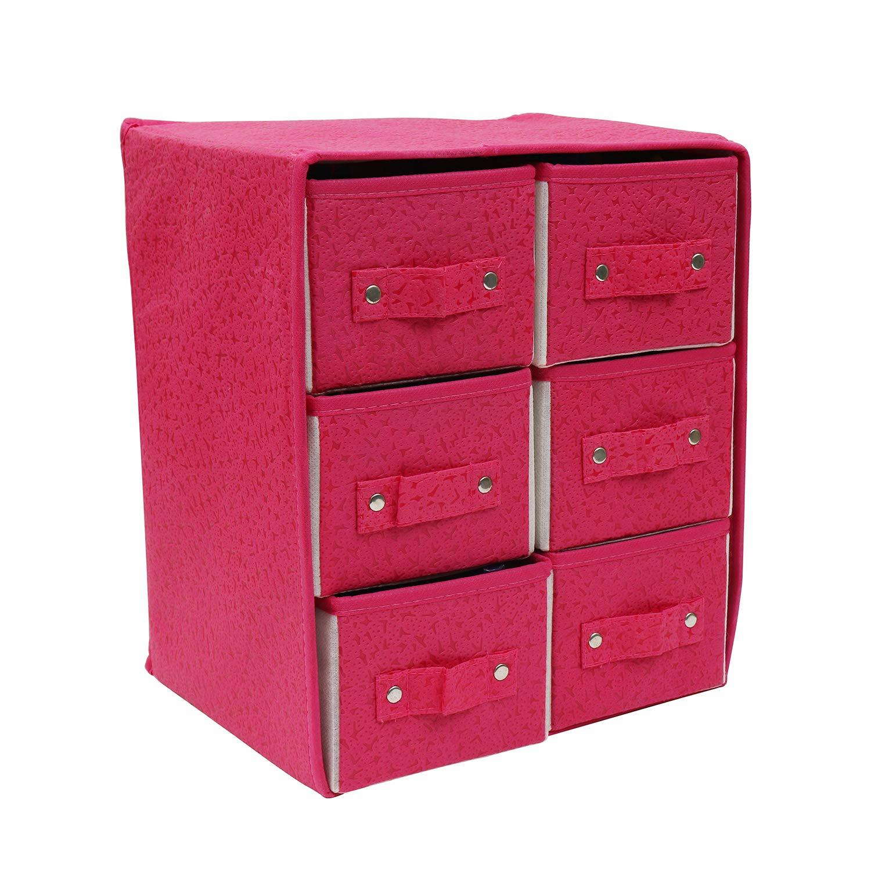 Organizador 6 Cajones Tela Rosa Contenedor Apilable Organizar por Kurtzy - Set Cajonera 6 Cajones Profundos en Empaque Plano - Para Organizar ...