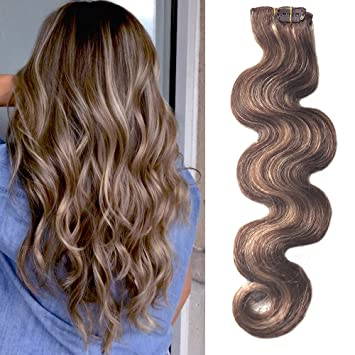 Amazon Com 22 Inch Clip In Hair Extensions Human Hair Medium Brown