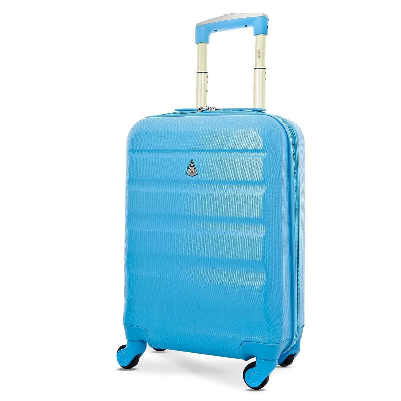 Aerolite Leichtgewicht ABS Hartschale 4 Rollen Handgepäck Trolley Koffer Bordgepäck Kabinentrolley Reisekoffer Gepäck , Genehmigt für Ryanair , easyJet , Lufthansa , Jet2 und Vieles Mehr , Blau