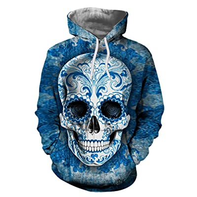 649c8b980 3D Skull Print Hooded Sweatshirt,Pullover Hooded Sweatshirt For Male and  Female Couple. (
