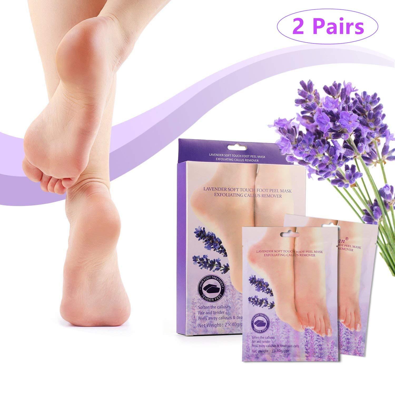 LEWOTE Peeling Foot Mask[2 Pairs], Exfoliating Foot Socks[Lavender Scented] Derhom