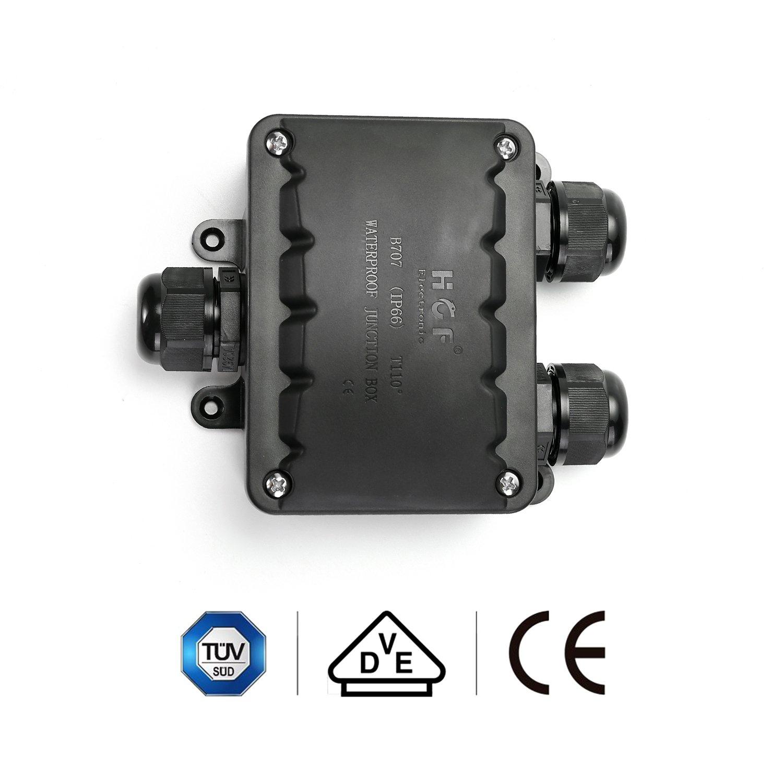 ASEL 2pcs Bo/îte de Jonction IP66 Ext/érieur 3 Voies Passe-c/âble Connecteur M20 Bo/îte de Jonction de C/âble /Ø9mm 14mm Noir