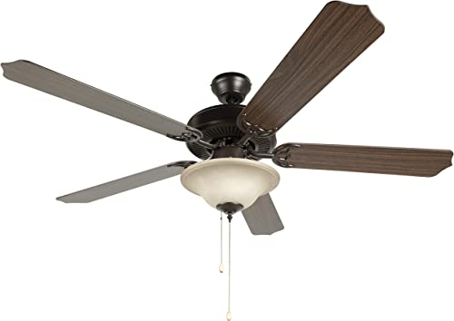 Hyperikon 52 Inch Ceiling Fan, 60W, Remote Control and Pull Chain, Rust Body, 5 Blades, Frosted Dome Light E12 Screwbase, Oak