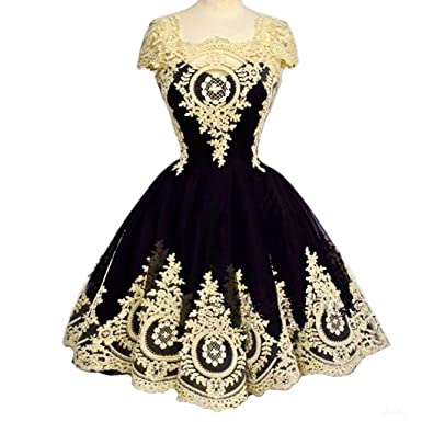 e5f6442d6df Amazon.com  Kivary Vintage Short Little Black Corset Lolita Prom Homecoming  Dresses Gothic Lace  Clothing