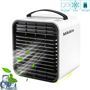 Mikikin Portable Air Conditioner Fan, Personal Space Evaporative Air Cooler Rechargeable USB Desk Fan with LED Light, 3 Speeds, Super Quiet Humidifier Misting Cooling Fan for Bedroom, Home, Office