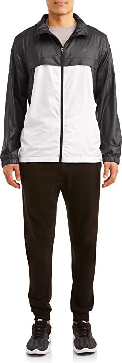 Rich Black//White Russell Exclusive Mens Long-Sleeve Performance Light Weight Windbreaker Jacket