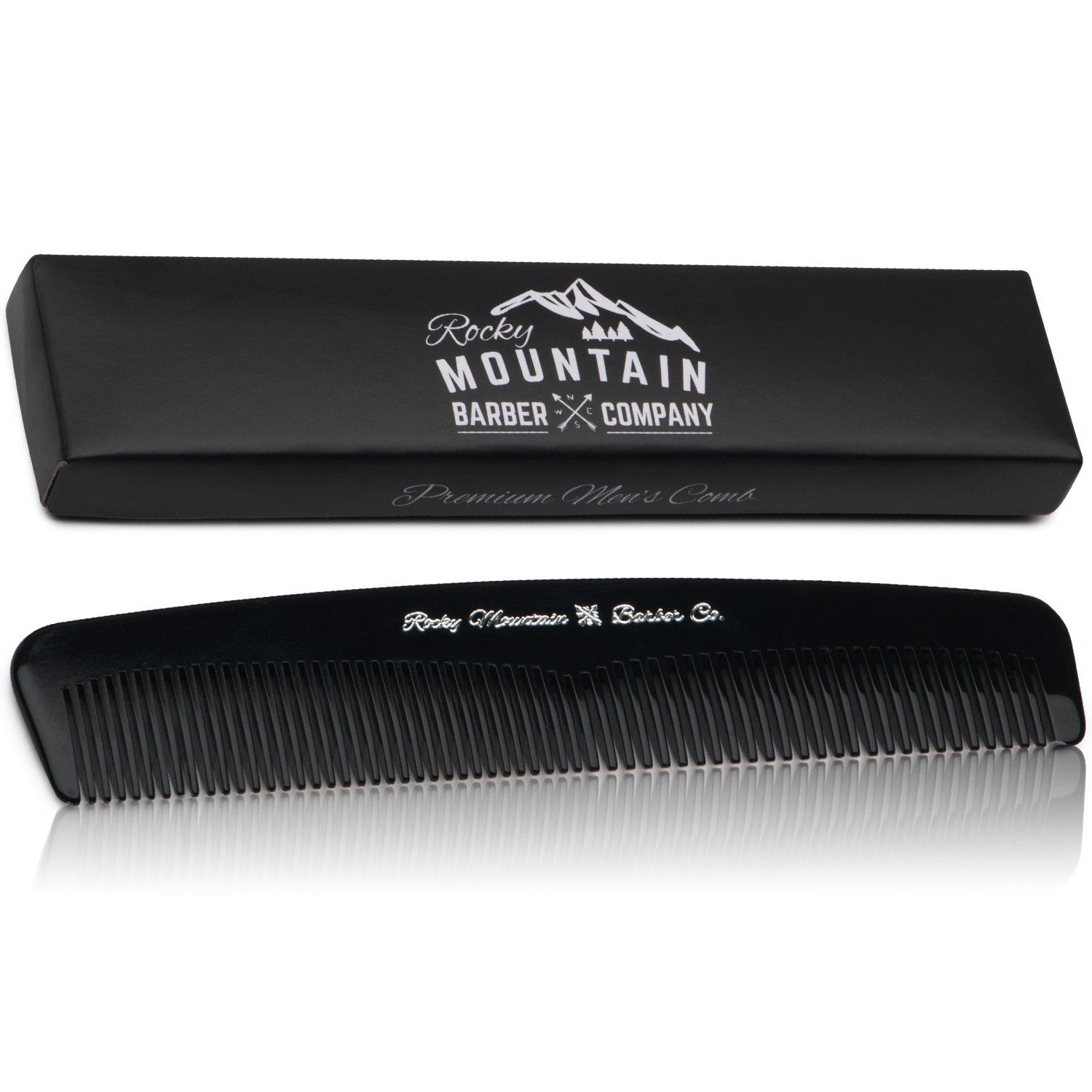 Men's Hair Comb – Plastic Modern Fine and Medium Tooth Comb Handmade for Head Hair, Beard, & Mustache - No Snag, Barber Grade Performance in Gift Box by Rocky Mountain Barber Company