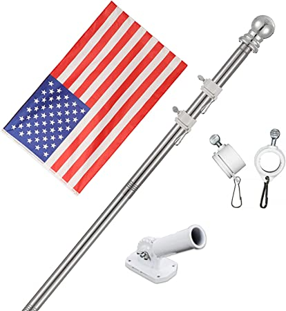 Bracket Cold Water White Blue 3 x 5 FT Flag 6 Ft Spinning Tangle Free Pole
