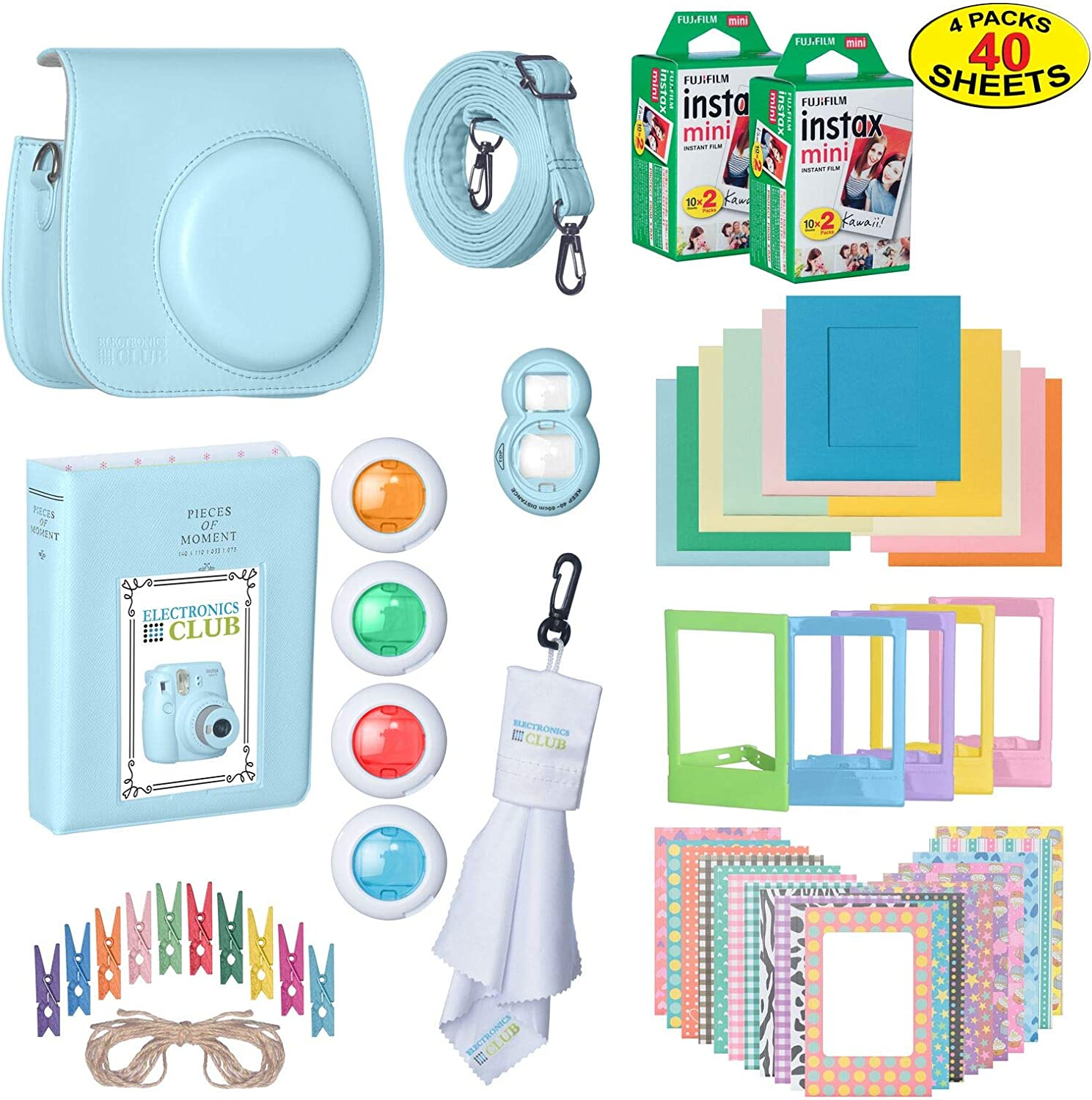 The Ultimate Accessories Kit Bundle for Fujifilm Instax Mini 9 Instant Film Camera | Includes Leather Camera Case + 40 Sheets of Instant Film + Photo Album + Frames + Close-Up Selfie Lenses + More…
