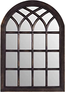 "Palais Essentials Farmhouse Wall Decor Arched Wall Mirror, Rustic Wood Windowpane Frame (Black Wash, 28"" X 20"")"