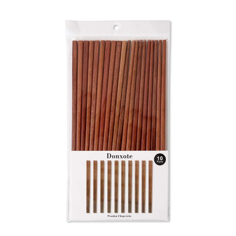Wooden Chopsticks Donxote 9.84 Inch Reusable Chinese Chopsticks Set of 10 Pairs