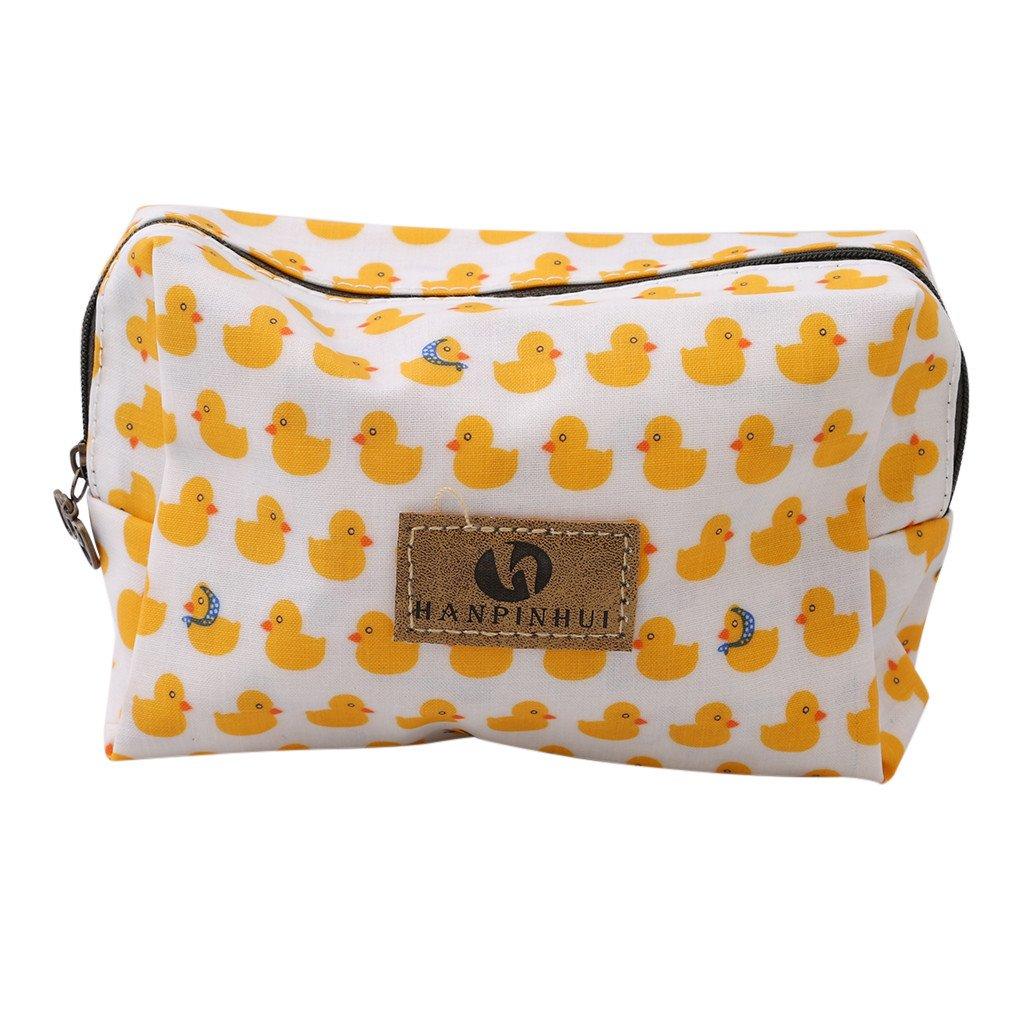 HENGSONG Kleine Make Up Bag Schminke Mäppchen Tasche Federmappe Beutel Kulturbeutel Makeup Kosmetikbeutel Schminktasche Stiftemappe mit Reißverschluss (Enten) MME5101