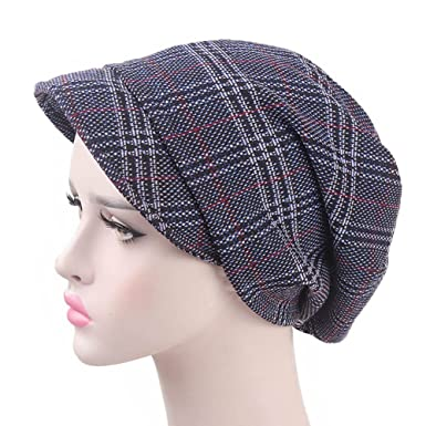 91afbd19a3e57 Womens Plaid Beret Casual Fashion Fedora Hats Wool Sleeve (Blue) at ...