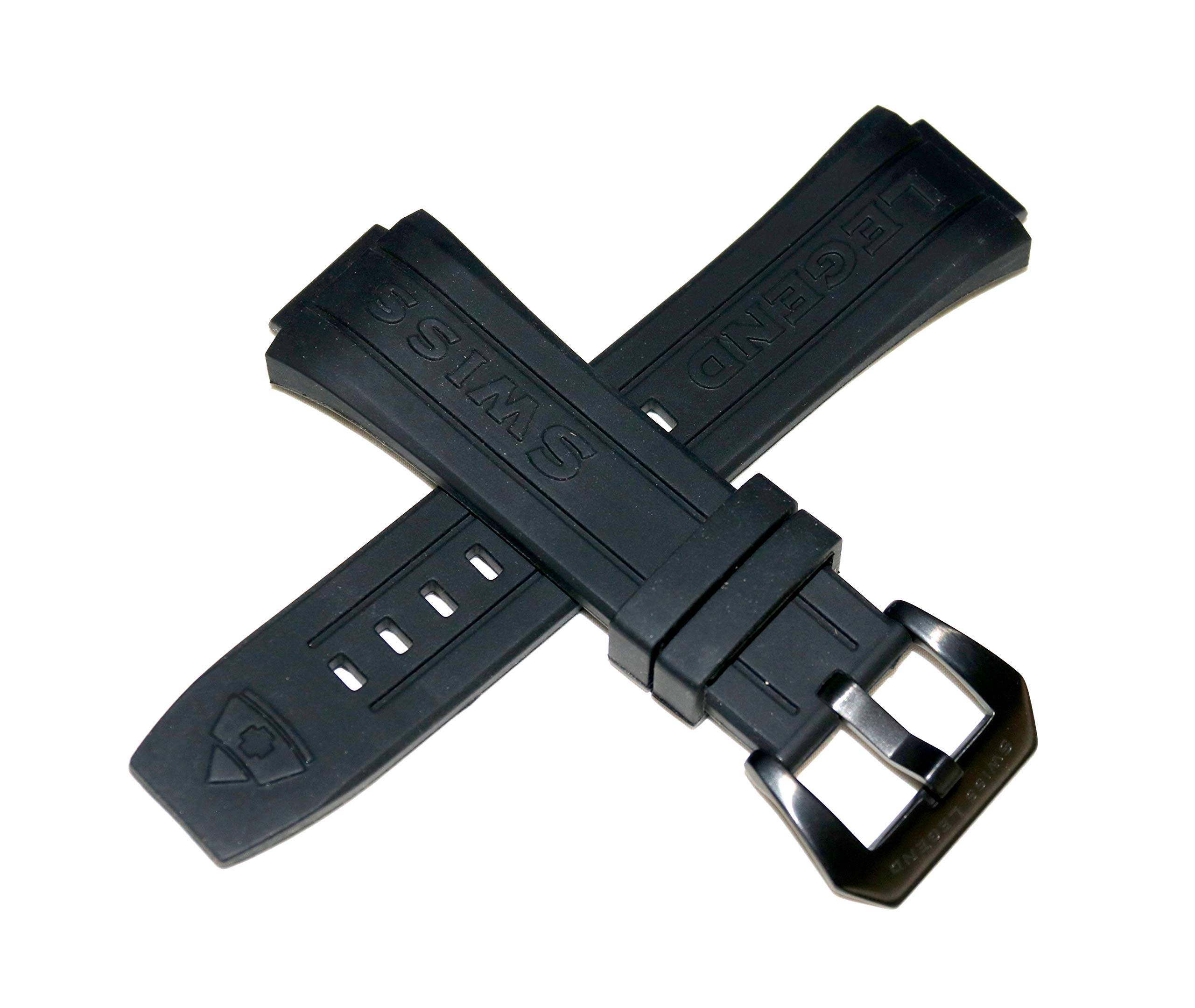 Swiss Legend 28MM Black Silicone Watch Strap Black Stainless Buckle fits 44mm Trimix Diver Watch by SWISS LEGEND (Image #1)