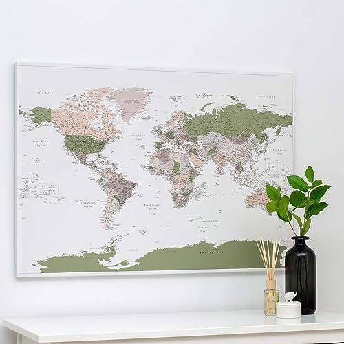 Cartina Del Mondo Da Parete.Planisfero Da Parete Mappa Del Mondo Quadro Su Tela Incorniciato Con 100 Puntine Incluse Cartina Geografica Mondo In Viola Verde Dimensioni 100x70 120x80 150x100 Cm Amazon It Handmade