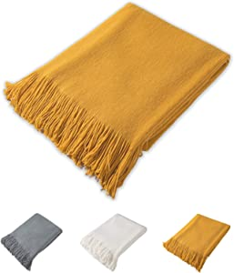 "JSTEX Throw Blankets Acrylic Bed Throw Fleece Blanket for Soft Couch Soft Lightweight Decorative Tassel Blanket with Fringe 50"" x 60"""
