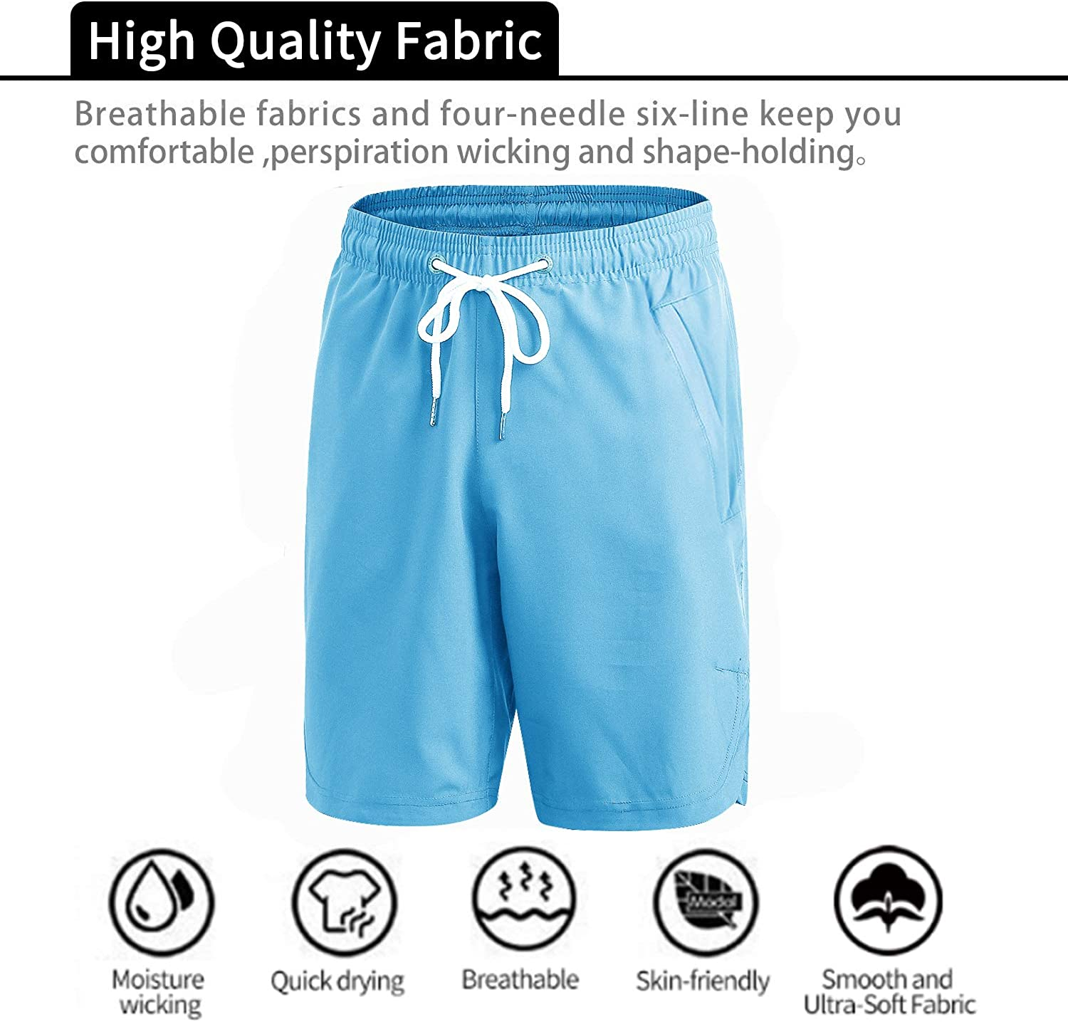 Yuerlian Men's Sports Shorts, Quick Dry Workout Shorts for Men, Classic Fit Summer Short with Pockets Sky Blue