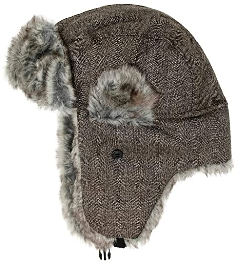 f8ed517483e23 Men's Women's Adult Winter Bomber Hat Warm Soft Fur Aviator Russian Trapper  Cap with Earflaps (Brown/Gray Fur) at Amazon Men's Clothing store: