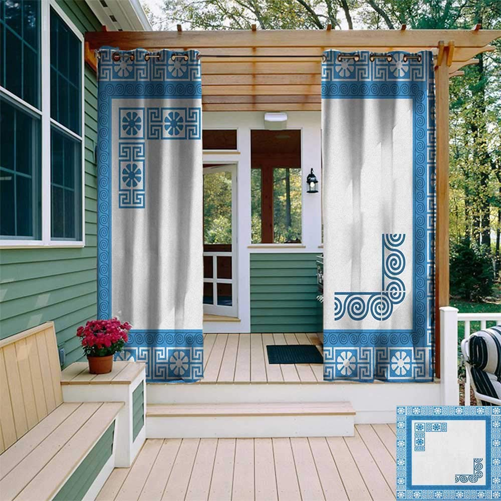 leinuoyi Greek Key, Outdoor Curtain Modern, Frame with Traditional Vintage Blue Square with White Flowers and Fret Pattern, Fabric W72 x L108 Inch Blue White