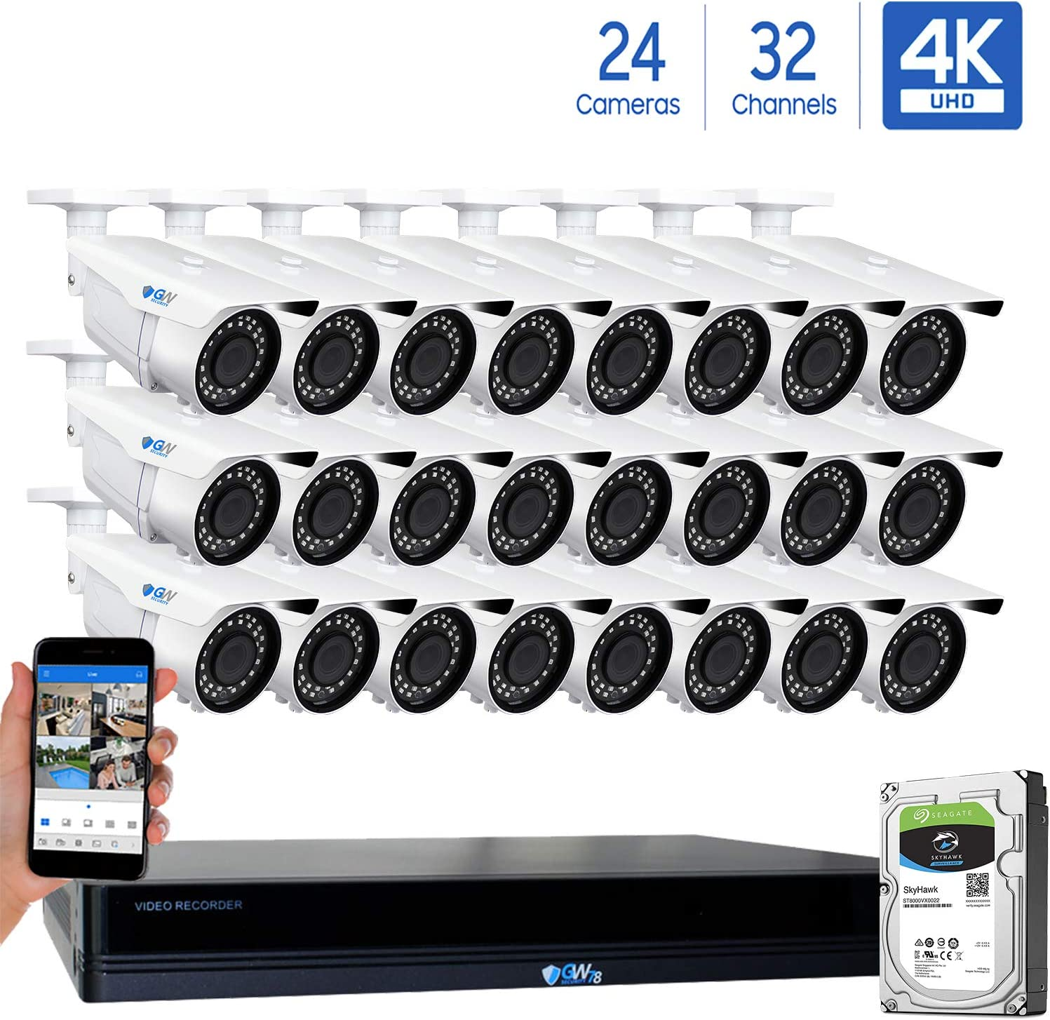 GW 32 Channel 4K NVR 8MP 3840×2160 H.265 PoE Security Camera System – 24 x UltraHD 4K 2.7 13.5mm Varifocal Zoom 196ft IR 2160p IP Cameras – 8 Megapixel Four Times The Resolution of 1080p Full HD