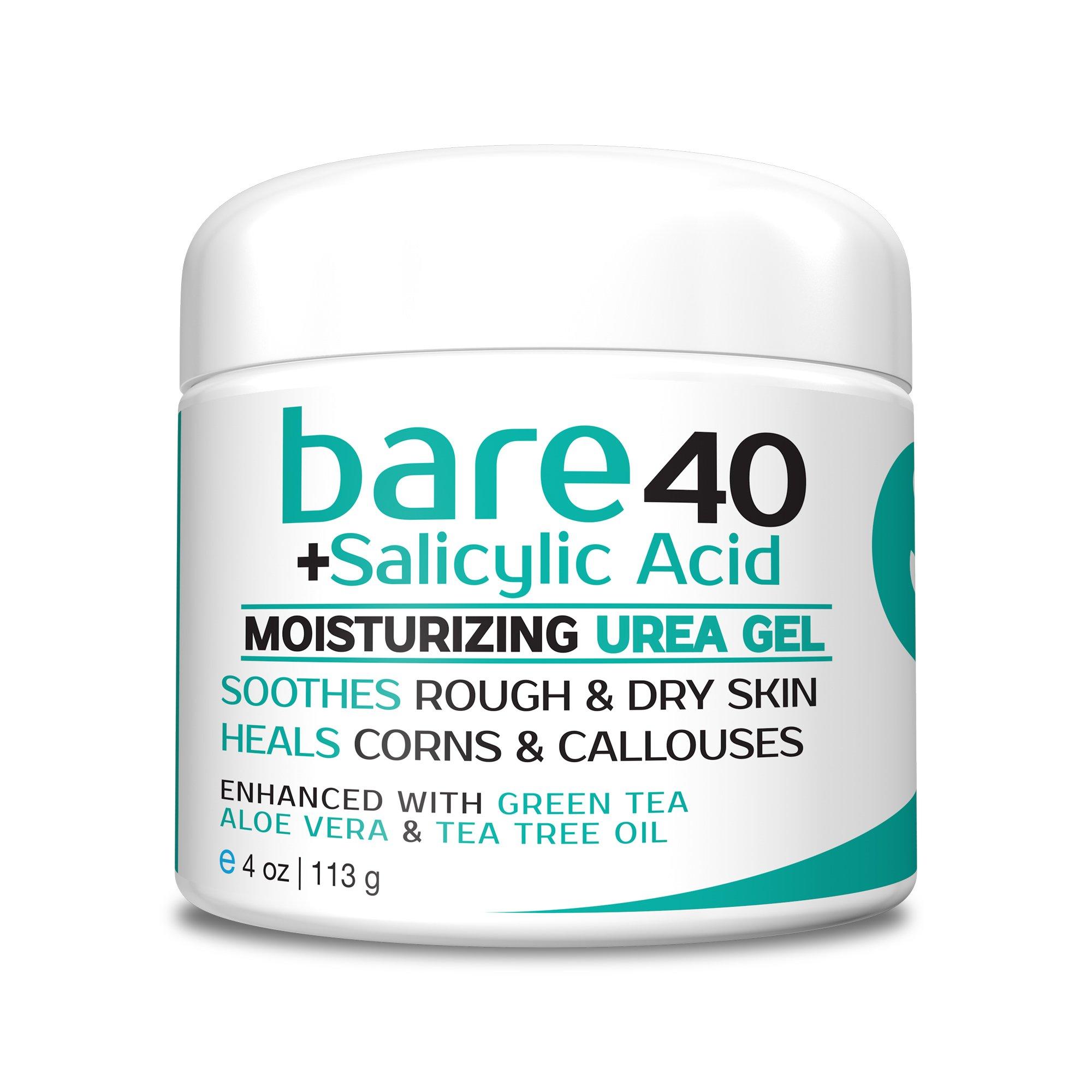 Bare Urea 40% Percent Plus Salicylic Acid Cream for Hands, Feet, Elbows and Knees - Corn & Callus Remover - Skin Exfoliator & Moisturizer - Repairs Thick, Callused Dead & Dry Skin