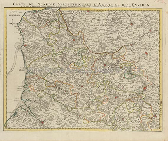 Map Of France Calais.Amazon Com Abbeville Lille Calais Bethune France Antique Map Covens